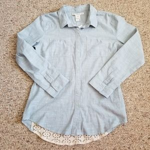 LAmerican Rag Denim Lace Long Sleeve Top M